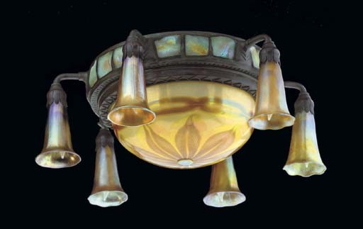 A TURTLEBACK TILE, FAVRILE GLASS AND BRONZE CEILING LIGHT