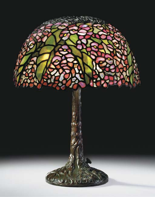 A 'BEGONIA' LEADED GLASS AND BRONZE TABLE LAMP
