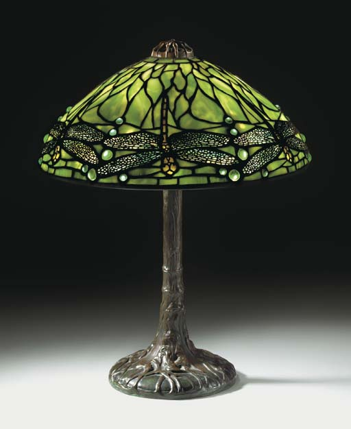 A 'DRAGONFLY' LEADED GLASS AND BRONZE TABLE LAMP