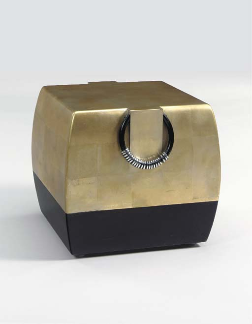 A WHITE GOLD LEAF, BLACK LACQUER, IRON AND CHROMED METAL STOOL