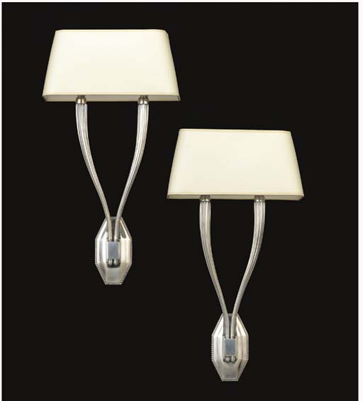 A PAIR OF SILVERED BRONZE SCON