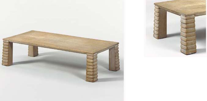 A CARVED, SANDED AND LIMED OAK LOW TABLE
