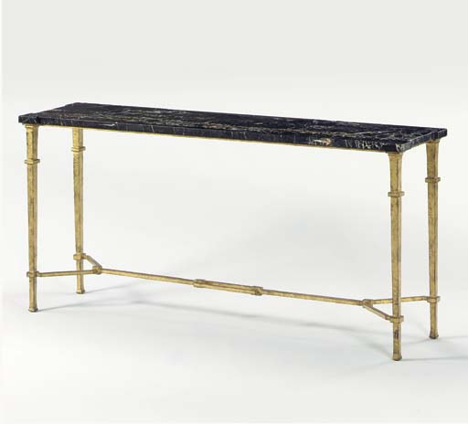 A GILT-BRONZE CONSOLE TABLE