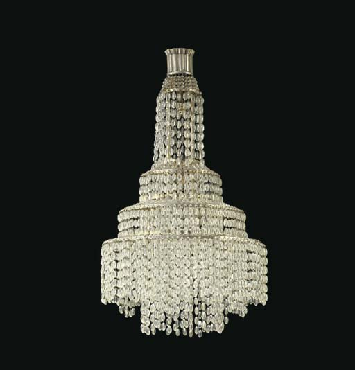 A SILVERED BRONZE AND FROSTED GLASS CHANDELIER