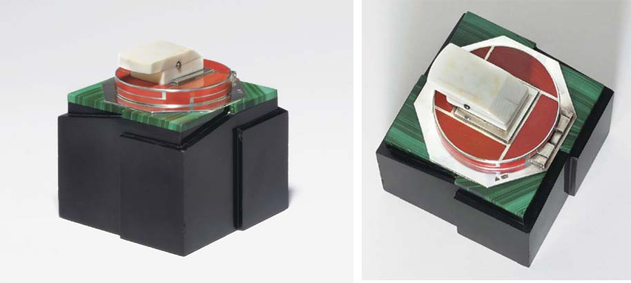 'ANNIBAL', A BLACK BELGIAN MARBLE, SILVER, IVORY, MALACHITE AND RED LACQUER INKWELL**