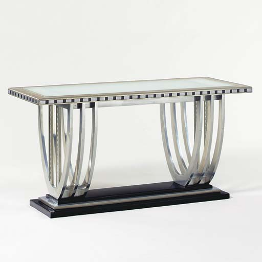 A NICKEL, STEEL AND FROSTED GLASS TABLE