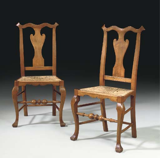 A PAIR OF QUEEN ANNE TURNED AN