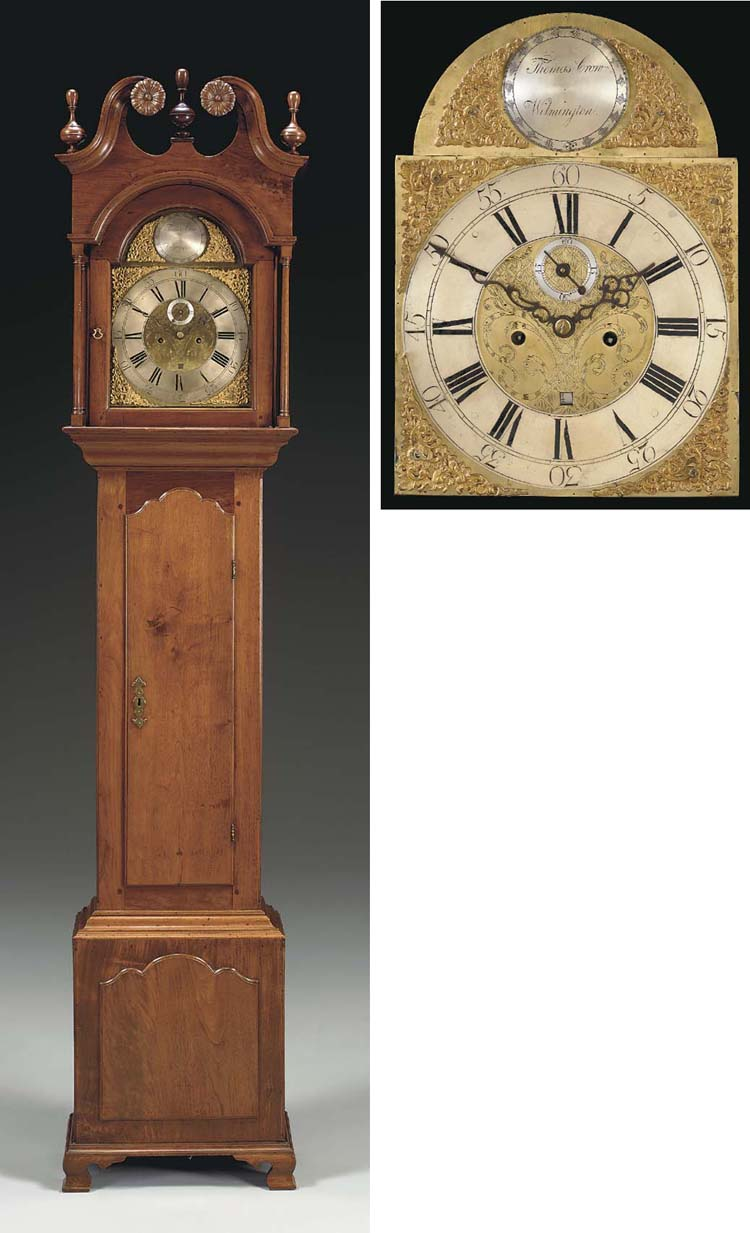 A CHIPPENDALE WALNUT TALL-CASE