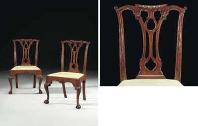 A PAIR OF CHIPPENDALE CARVED M