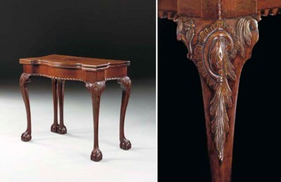 A CHIPPENDALE CARVED AND FIGUR