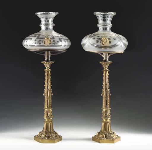 A PAIR OF GOTHIC REVIVAL PATIN