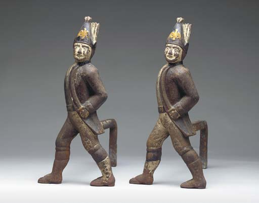 A PAIR OF PAINTED CAST-IRON HE