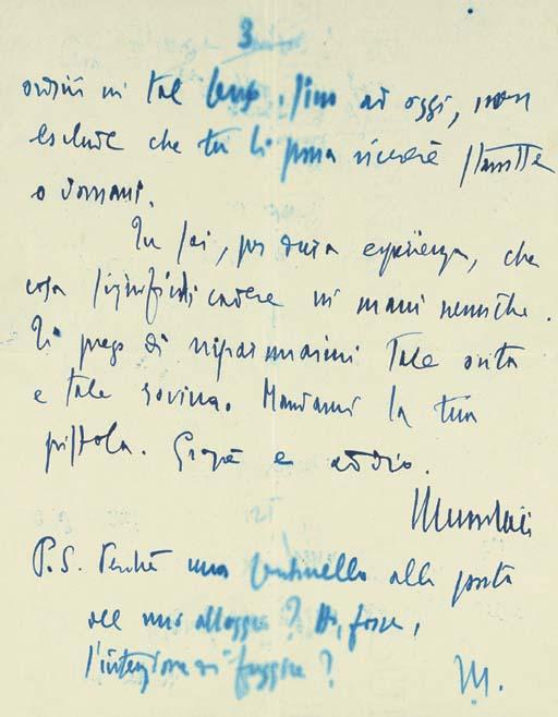 MUSSOLINI, Benito. Autograph l
