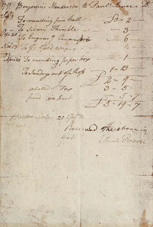 REVERE, Paul (1735-1818). Auto