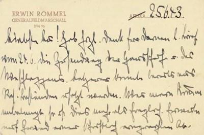 ROMMEL, Erwin. Autograph lette