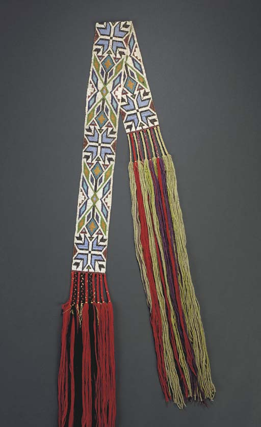 A CHIPPEWA LOOM-BEADED SASH