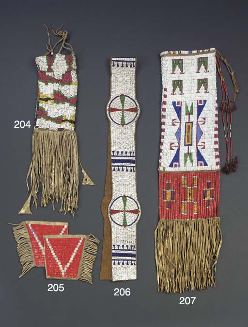 A UTE BEADED AND FRINGED HIDE