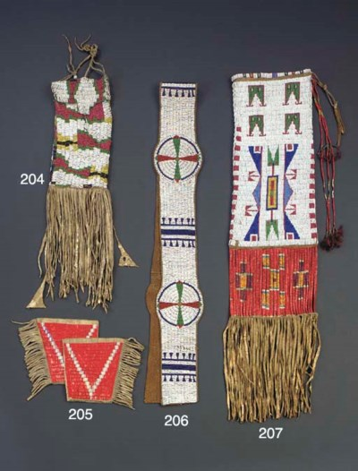 A PAIR OF SIOUX QUILLED HIDE C
