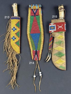 A SIOUX BEADED AND FRINGED HID