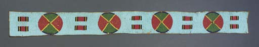A SIOUX BEADED HIDE BLANKET ST