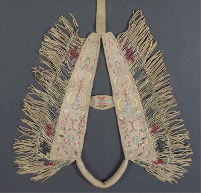 AN EARLY CREE QUILLED HIDE HOR