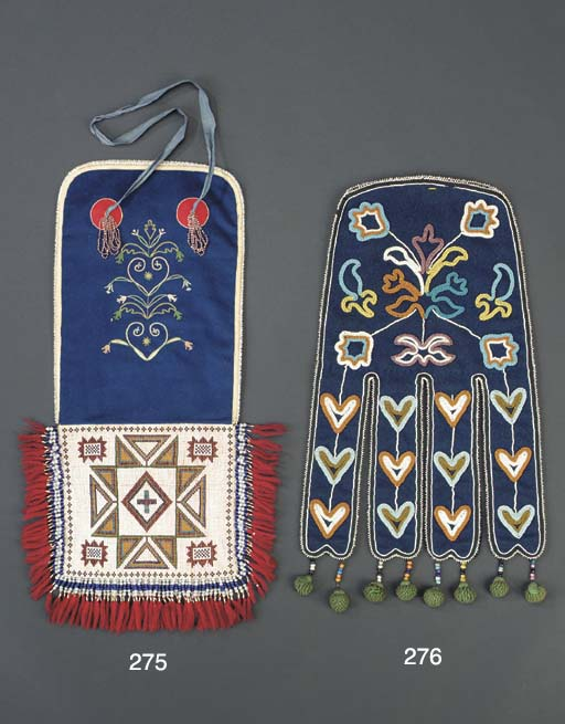 A TLINGIT BEADED CLOTH POUCH