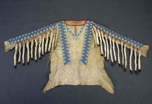 A PLAINS CREE BEADED HIDE WAR