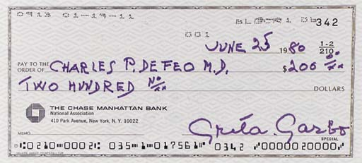 GRETA GARBO SIGNED CHECK