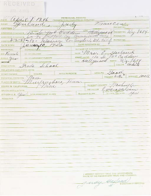 JUDY GARLAND SIGNED DOCUMENT