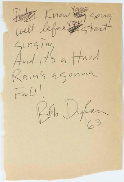 BOB DYLAN HANDWRITTEN LYRICS