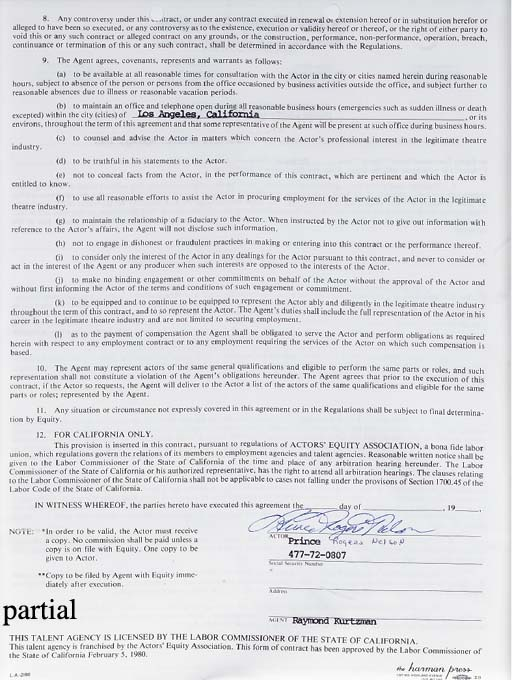 PRINCE SIGNED CONTRACT, NOTE A