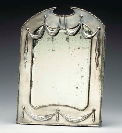 A SILVER-PLATED DRESSING MIRRO