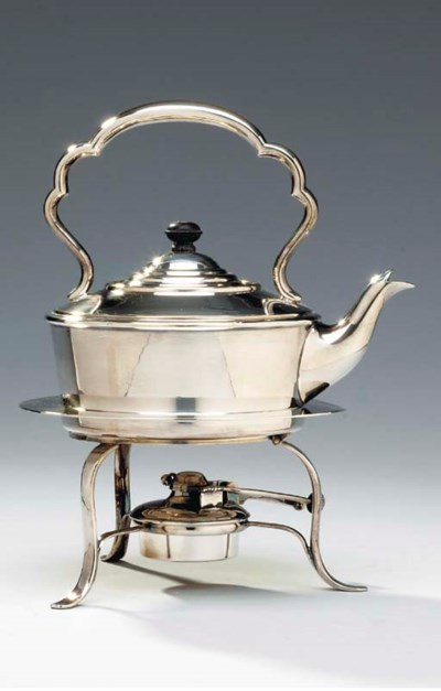 A SILVER-PLATED KETTLE-ON-STAN