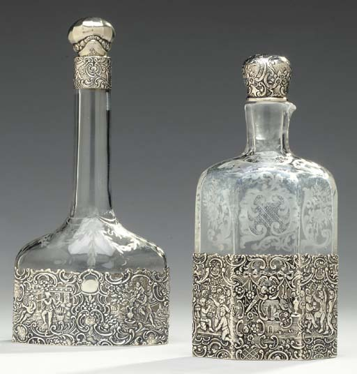 TWO SILVER MOUNTED ETCHED GLAS