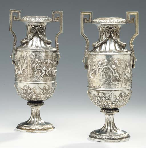 A PAIR OF GERMAN SILVER TWO-HA
