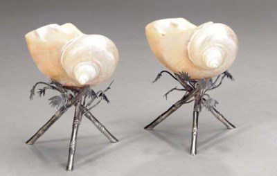 TWO NAUTILUS SHELLS WITH SILVE