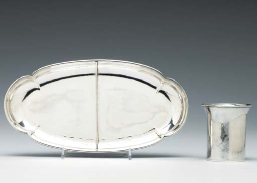 AN AMERICAN SILVER DISH AND A