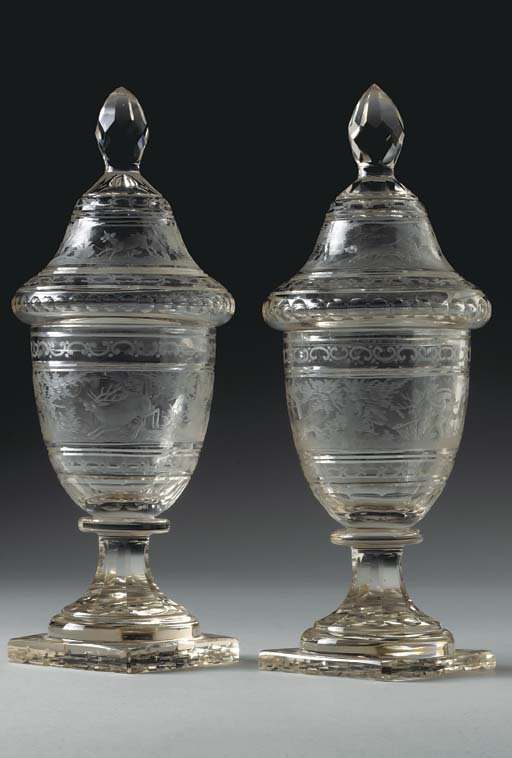 A PAIR OF BOHEMIAN ETCHED GLAS