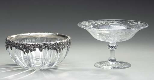 A GROUP OF TEN CUT-GLASS AND CUT-CRYSTAL TABLE OBJECTS,