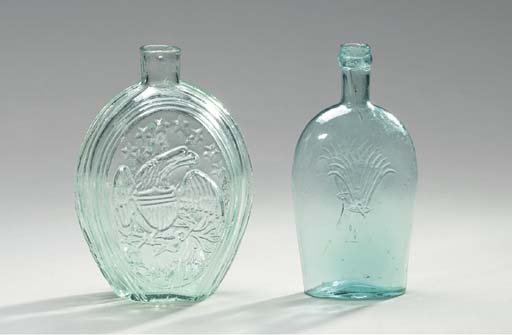 FIVE PICTORIAL BLUE GLASS FLASKS,