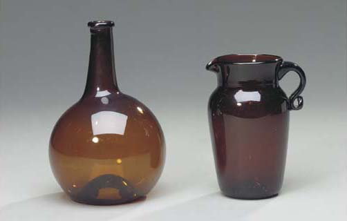 THREE AMBER GLASS PITCHERS TOG