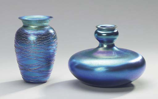TWO IRIDESCENT BLUE GLASS VASES TOGETHER WITH AN IRIDESCENT BLUE GLASS ATOMIZER,