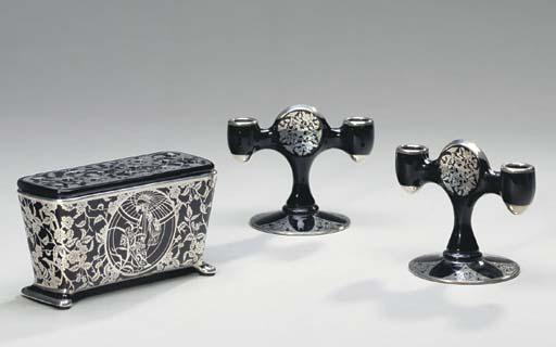 A GROUP OF ART DECO BLACK GLAS
