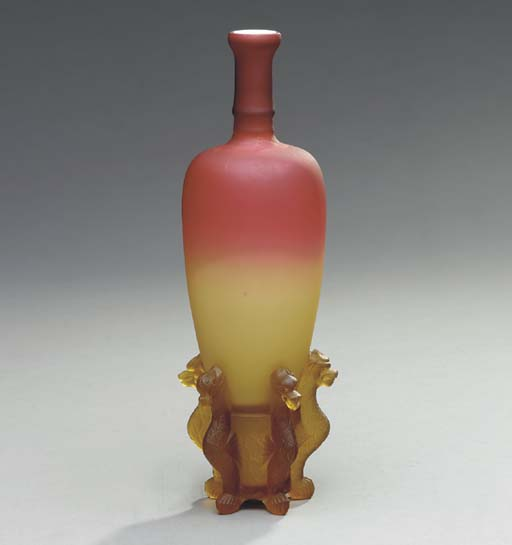 A 'MORGAN' PEACH BLOW GLASS VA