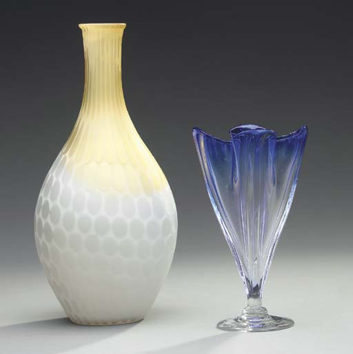 A COBALT AND COLORLESS GLASS VASE TOGETHER WITH THREE COLORED GLASS VASES,