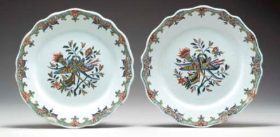 TWO ROUEN FAIENCE PLATES,