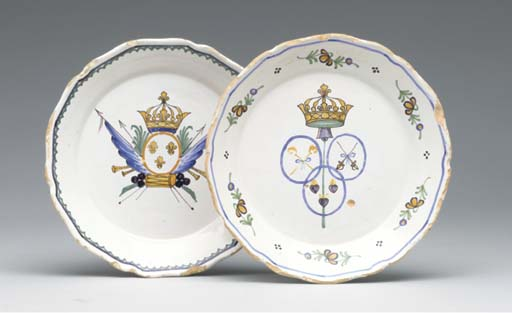 FIVE VARIOUS FRENCH FAIENCE PL