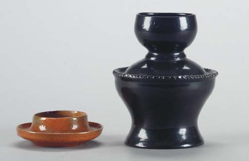 A GEORGE OHR CERMAIC VASE AND