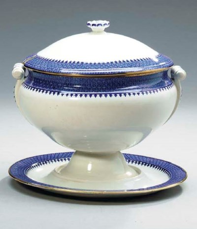 A BLUE AND WHITE WEDGWOOD SOUP