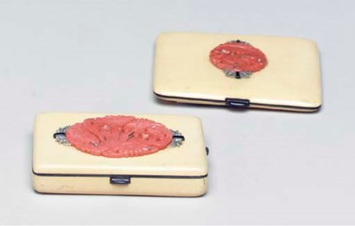 A PAIR OF ART DECO CORAL, DIAM
